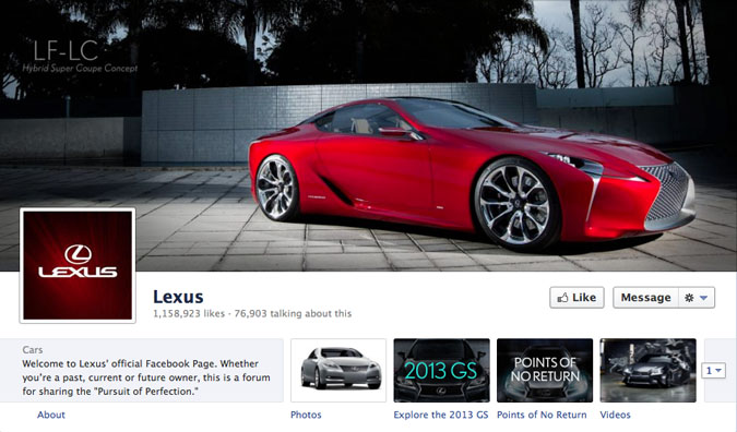 lexus facebook page1 30 Creative Examples of Facebook Timeline Cover Designs #2