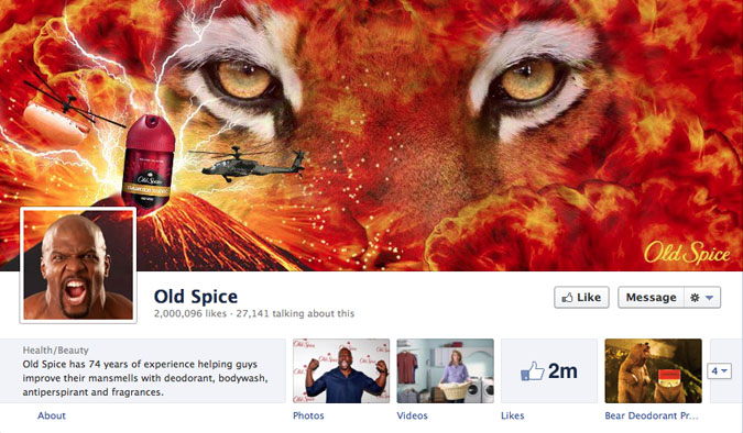 old spice facebook page1 30 Creative Examples of Facebook Timeline Cover Designs #2