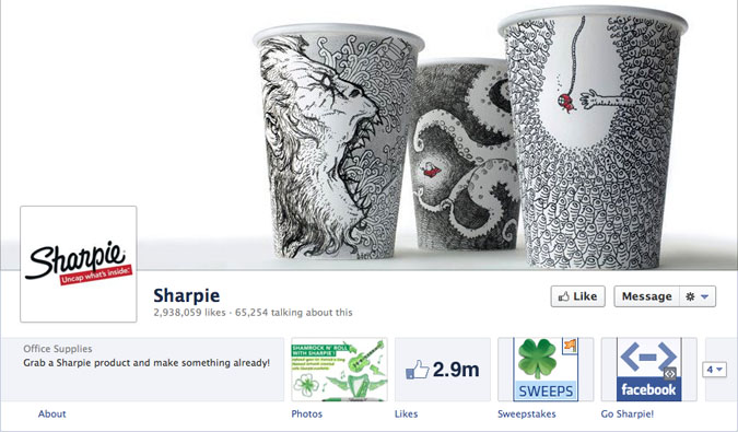 sharpie facebook page1 30 Creative Examples of Facebook Timeline Cover Designs #2