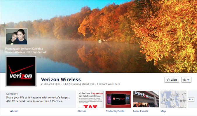 verizon wireless facebook page1 30 Creative Examples of Facebook Timeline Cover Designs #2