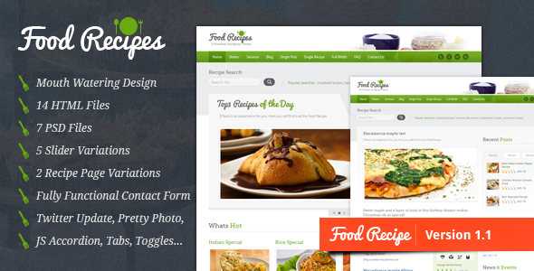 01 preview1 25+ Premium Food Based WordPress Themes