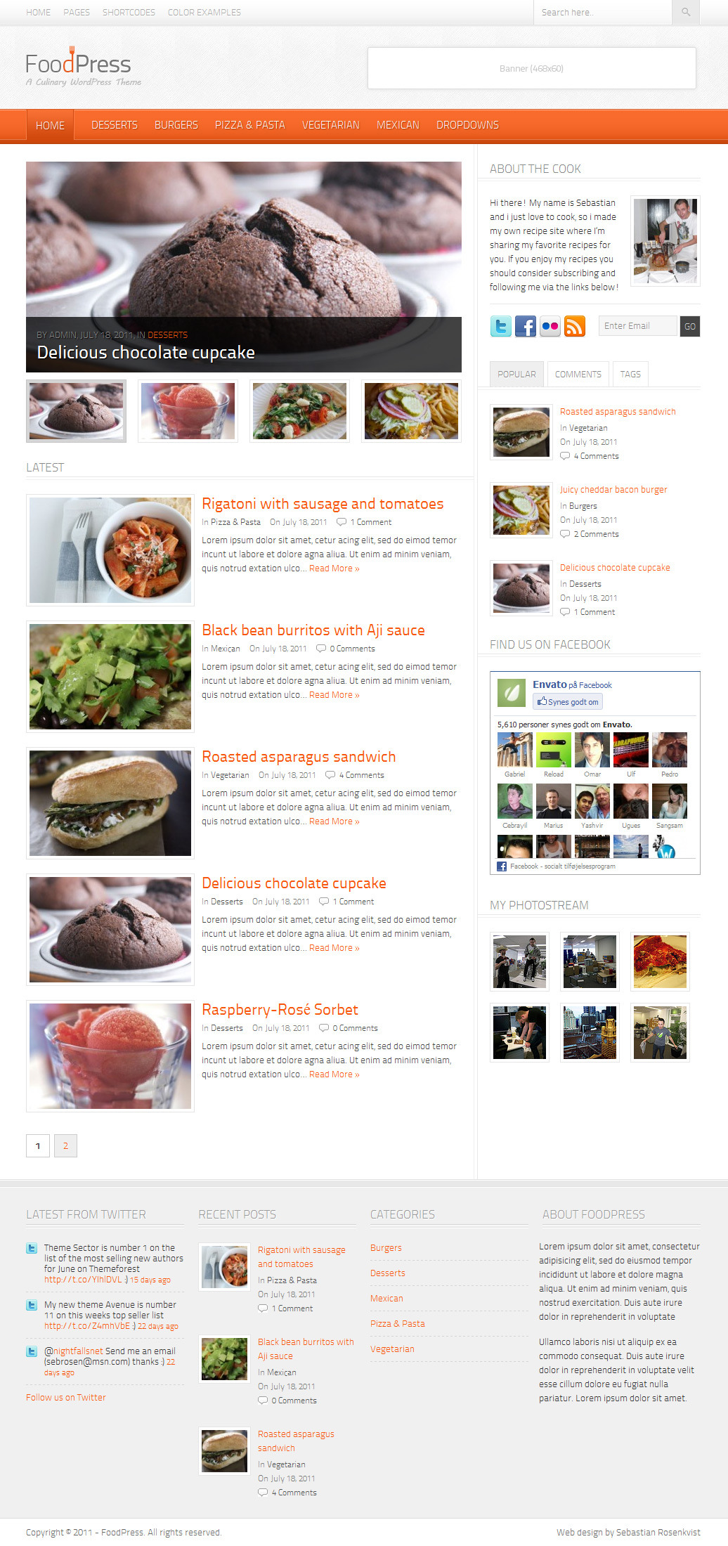 02 homepage1 25+ Premium Food Based WordPress Themes