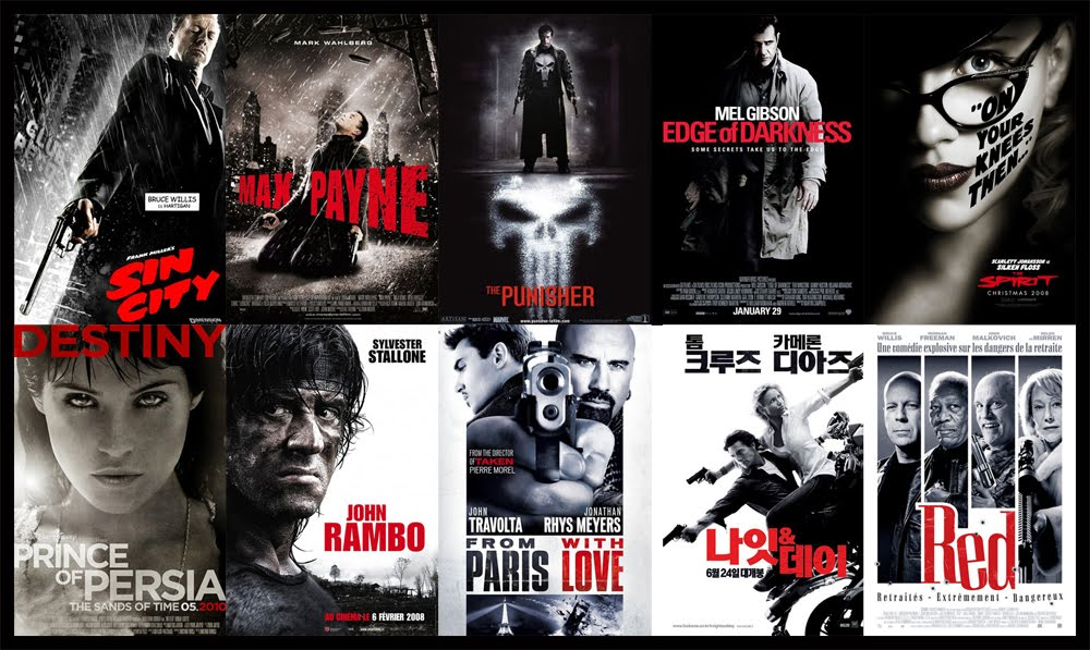 Black, White, Red - Action movies, a lot of guns