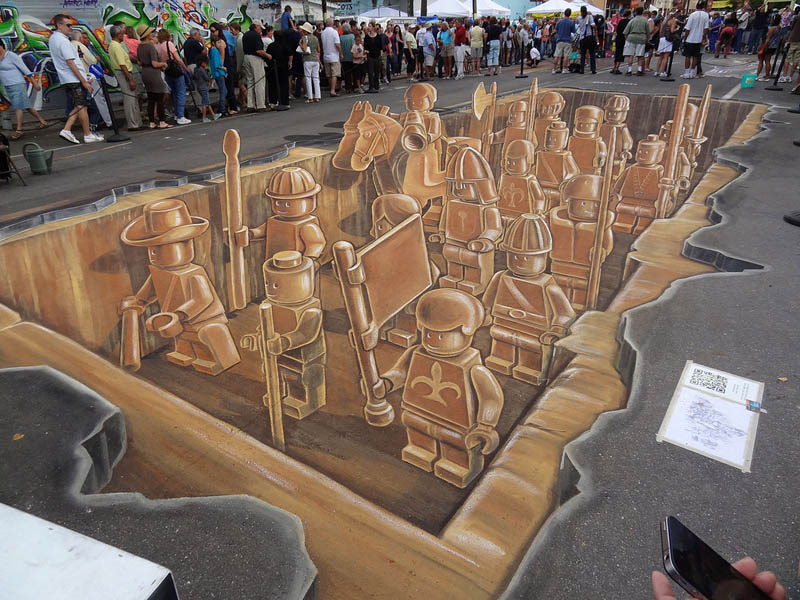 3D Sidewalk Art: Lego Terracotta Warriors