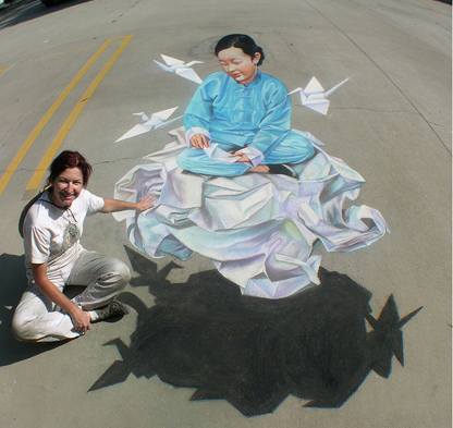 3d street painting 3 cranes What Chalk and Artistry Can Do – 20 Magnificent and Enthralling Samples of Chalk Art