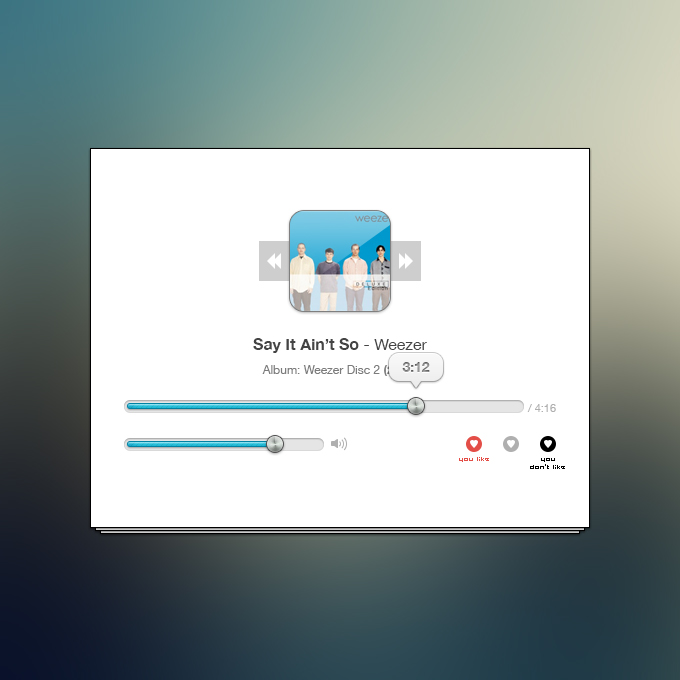 clean music player preview1 50 Stunning Pixel Perfect PSD Freebies #3