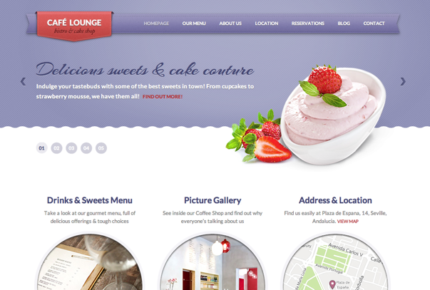 coffee lounge1 25+ Premium Food Based WordPress Themes