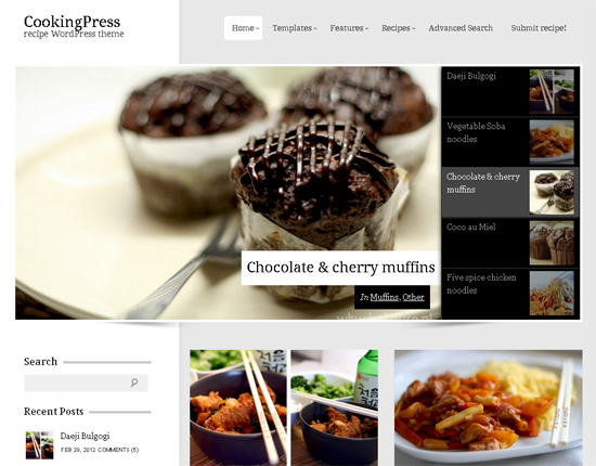 cookingpress wordpress theme1 25+ Premium Food Based WordPress Themes