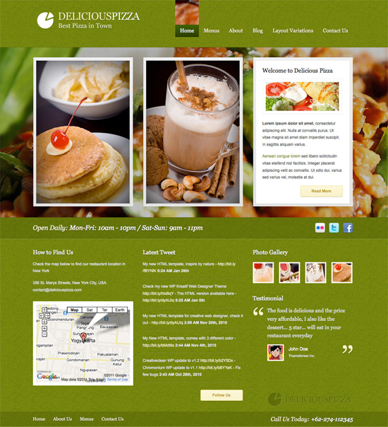 delicious restaurant wordpress theme1 25+ Premium Food Based WordPress Themes