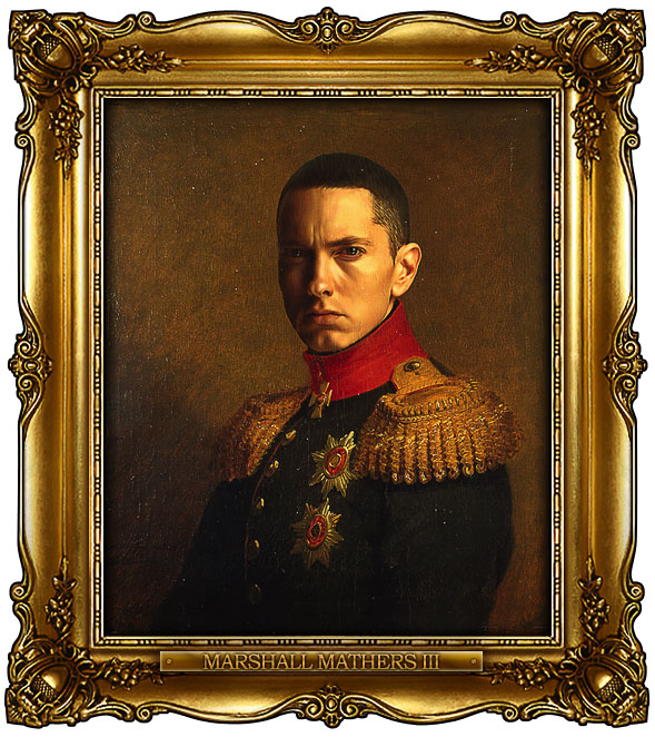 famous celebrities 19th century russian generals by george dawe marshall mathers 1 Celebrities Digitally Painted As Russian Generals