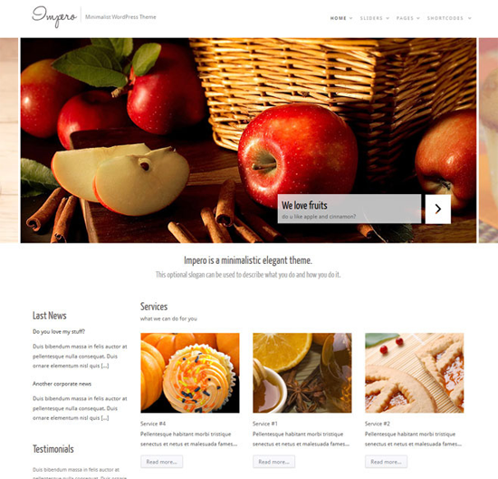 impero wordpress theme1 25+ Premium Food Based WordPress Themes