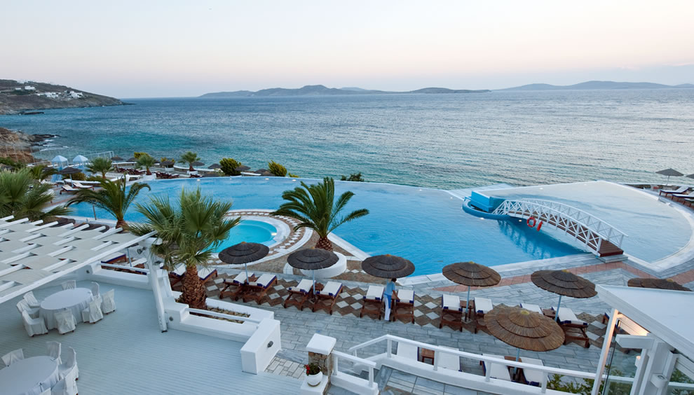 Infinity pool at Saint John Mykonos in Greece.