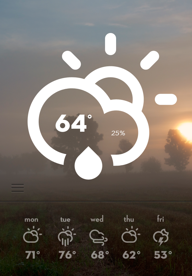 weather big1 40 Quality Examples of iOS User Interface Designs