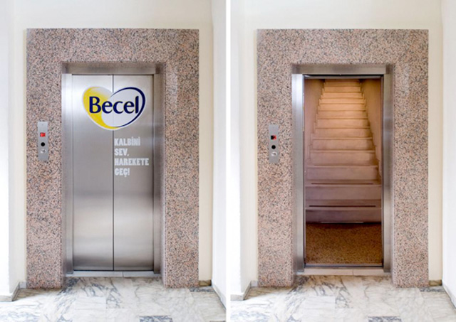 becelelevatorturkey1 18 Creative Elevator Advertisements