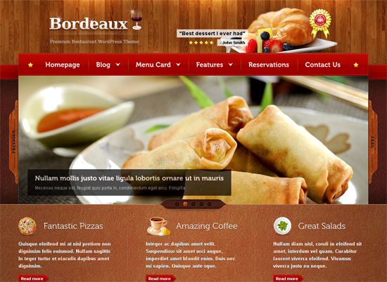 bordeaux wordpress theme1 25+ Premium Food Based WordPress Themes