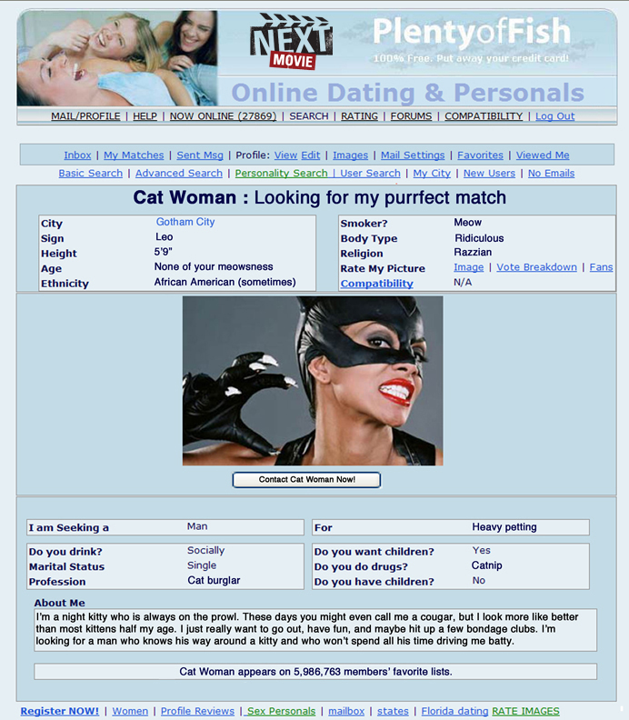 catwoman fullsize datingprofile Online Dating Profiles of Superheros