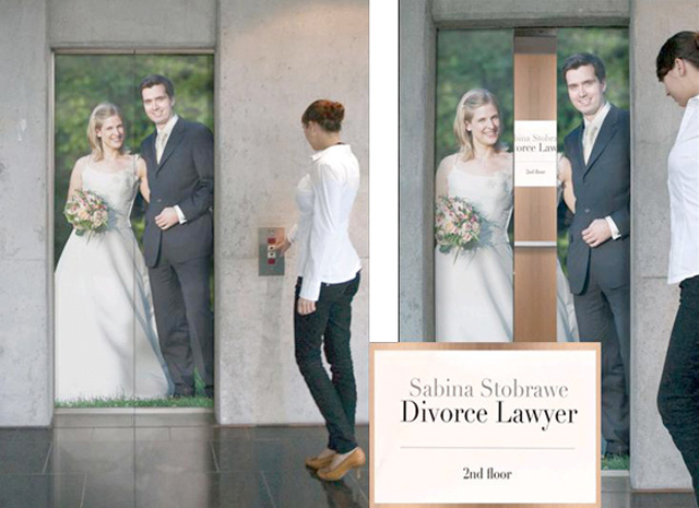 divorcelawyer11 18 Creative Elevator Advertisements