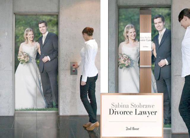 divorcelawyer11 18 Creative Elevator Advertisements