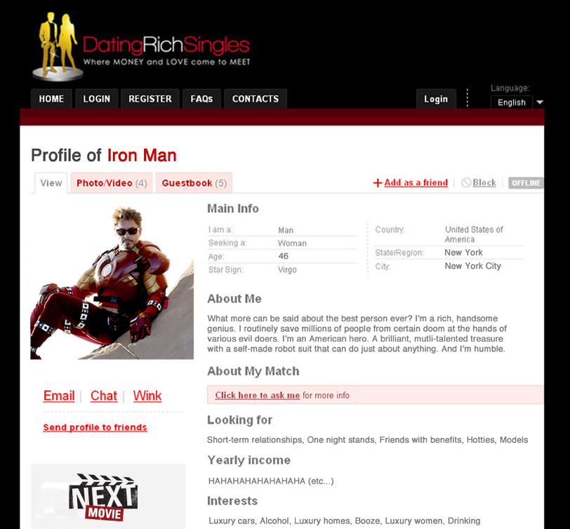 ironman fullsize datingprofile Online Dating Profiles of Superheros