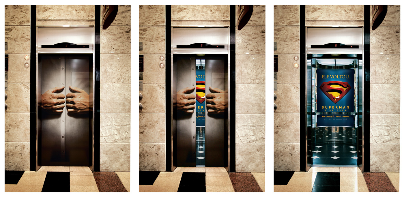 warner elevador super homem1 18 Creative Elevator Advertisements