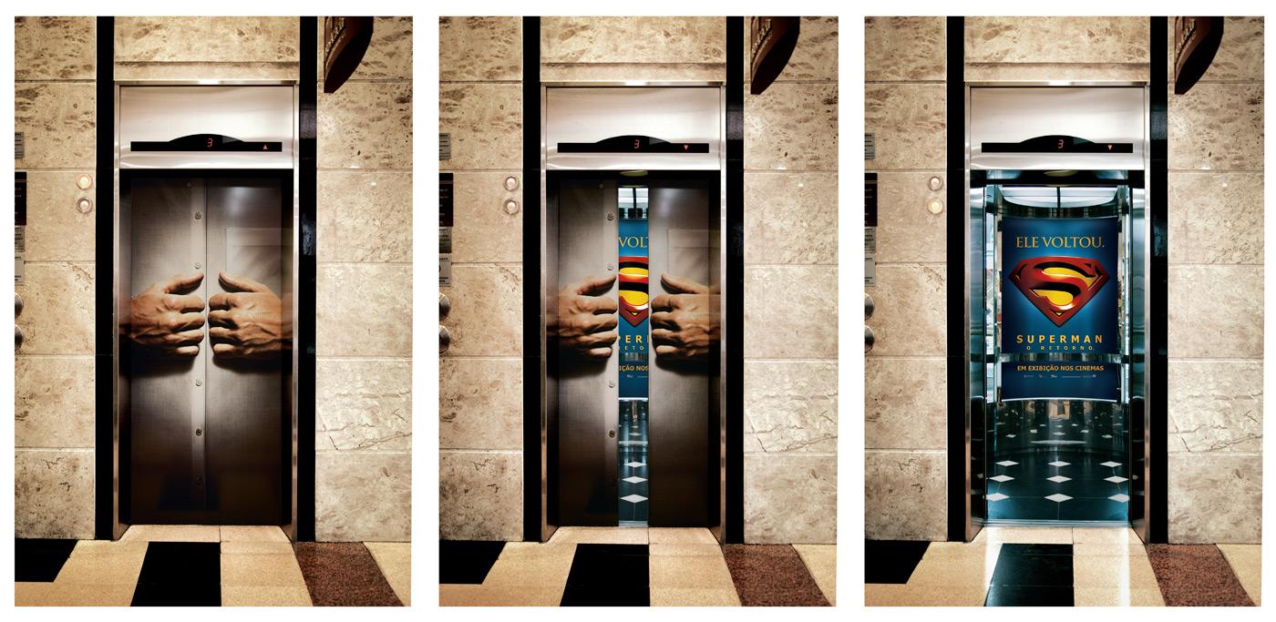 warner elevador super homem1 18 Creative Elevator Advertisements