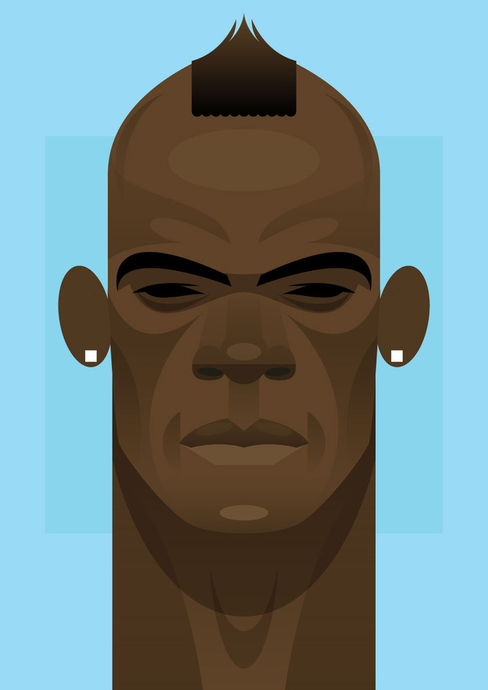 balotelli Famous Footballers Illustrated by Stanley Chow