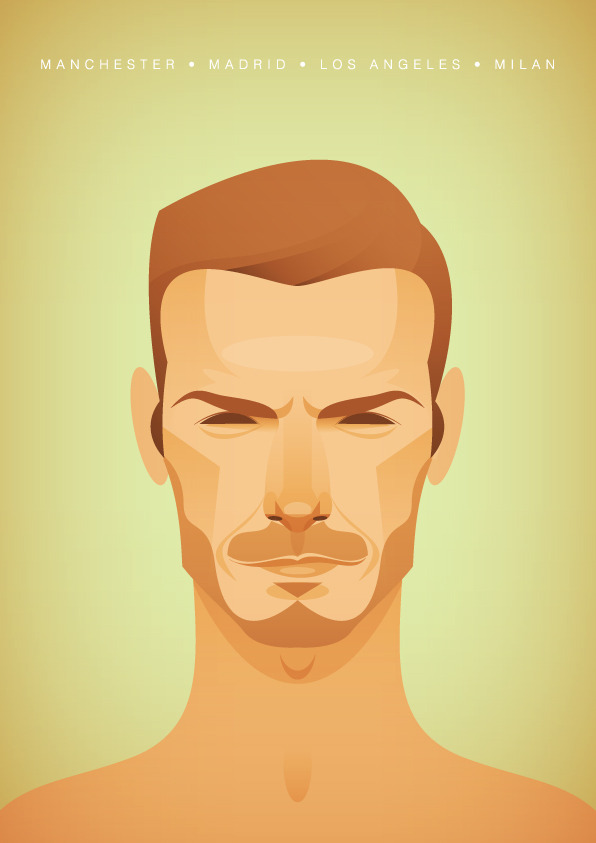 beckham2 Famous Footballers Illustrated by Stanley Chow