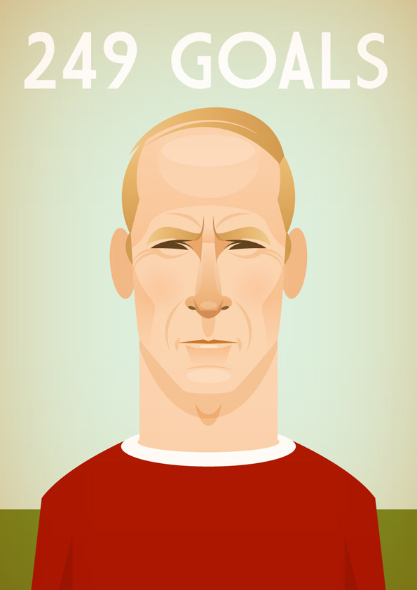 bobbycharlton Famous Footballers Illustrated by Stanley Chow