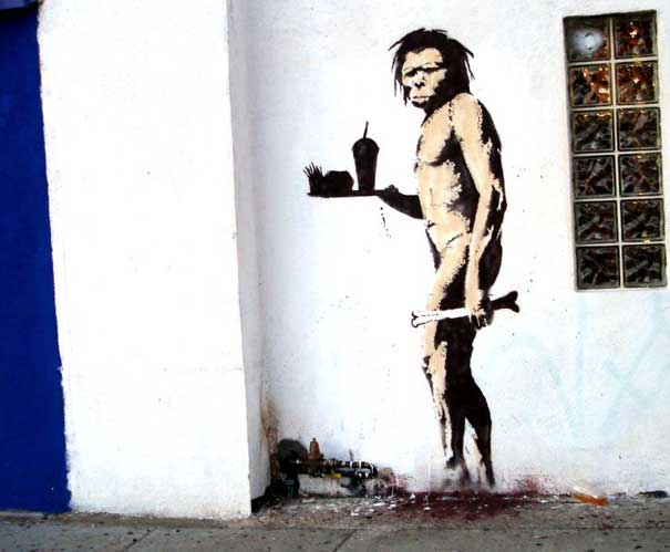 "caveman ""You are not Banksy"" by Nick Stern"