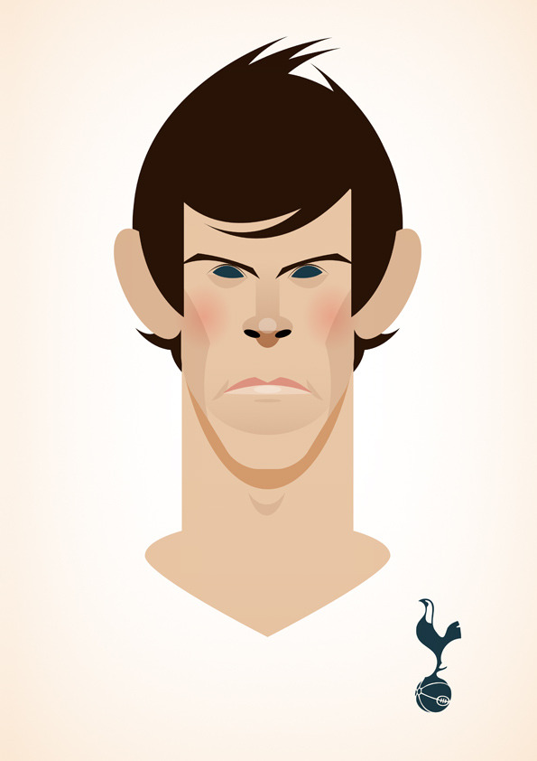 garethbale Famous Footballers Illustrated by Stanley Chow