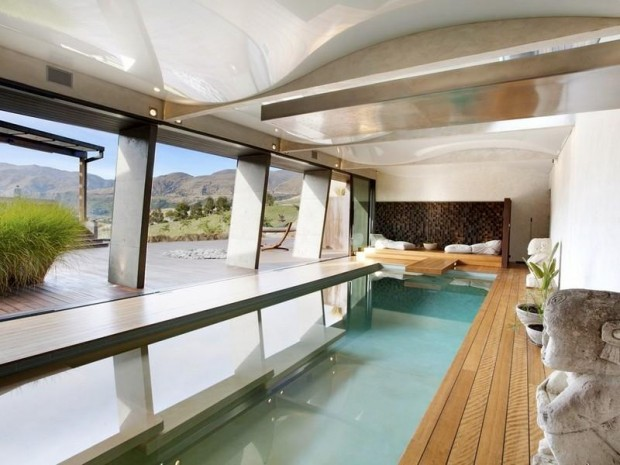 indoor swimming pool 620x465 Luxurious and Peaceful Designer Home In New Zealand