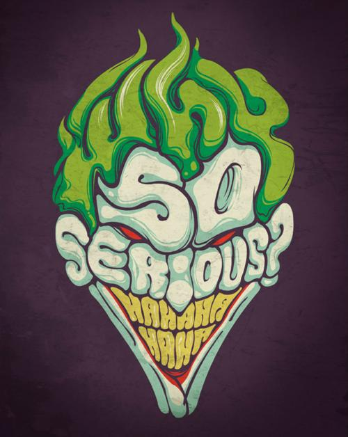 joker typography1 Why So Serious: 30 Incredible Joker Illustrations