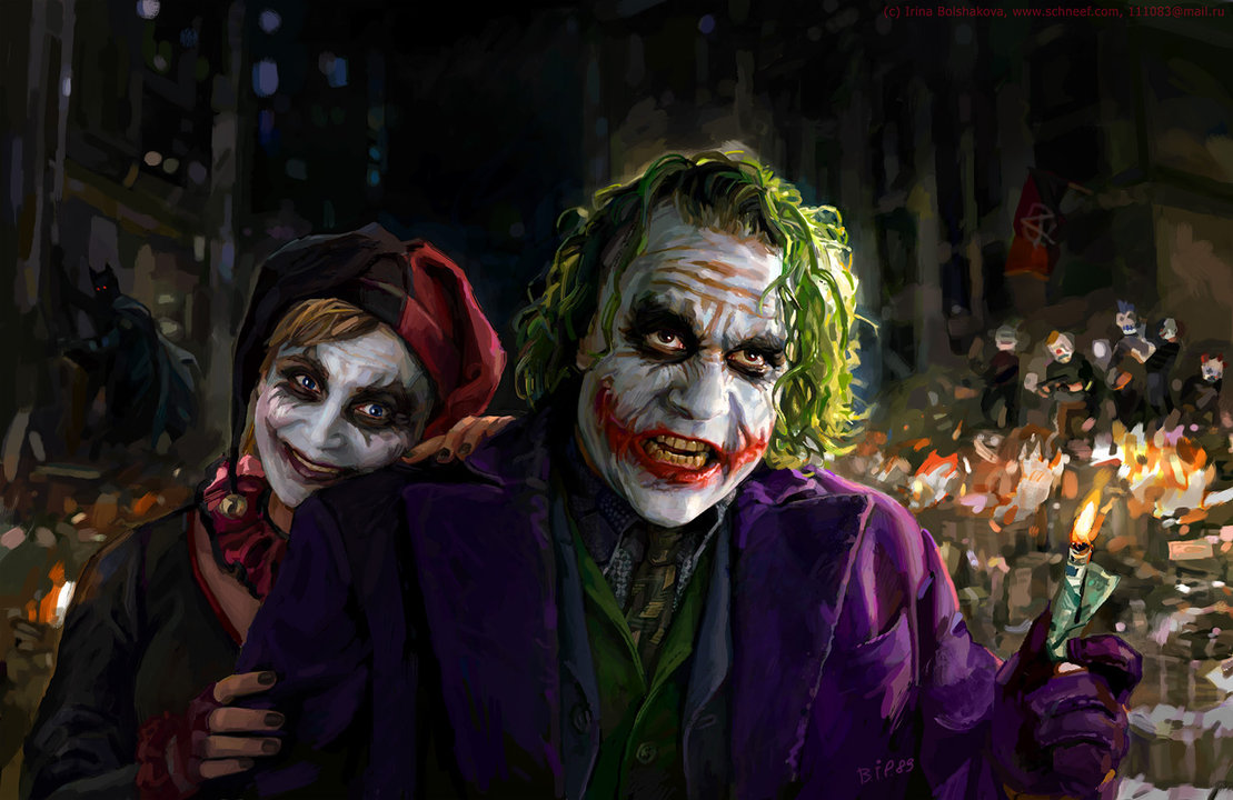 joker and harley quinn by iricolor1 Why So Serious: 30 Incredible Joker Illustrations