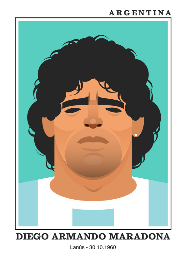 maradonaa3 Famous Footballers Illustrated by Stanley Chow