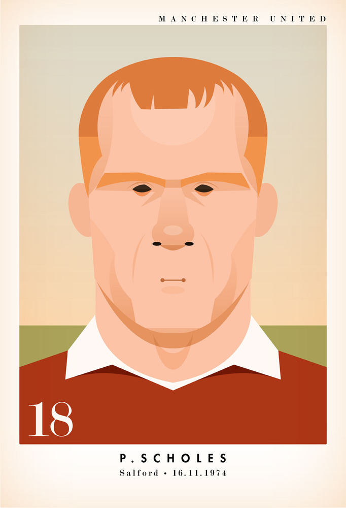 paulscholes Famous Footballers Illustrated by Stanley Chow
