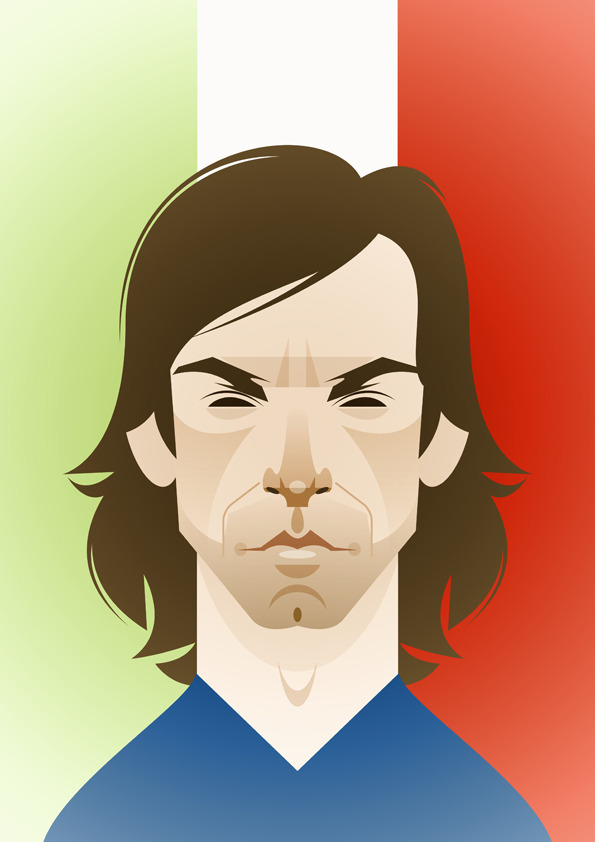 pirlo 1 Famous Footballers Illustrated by Stanley Chow