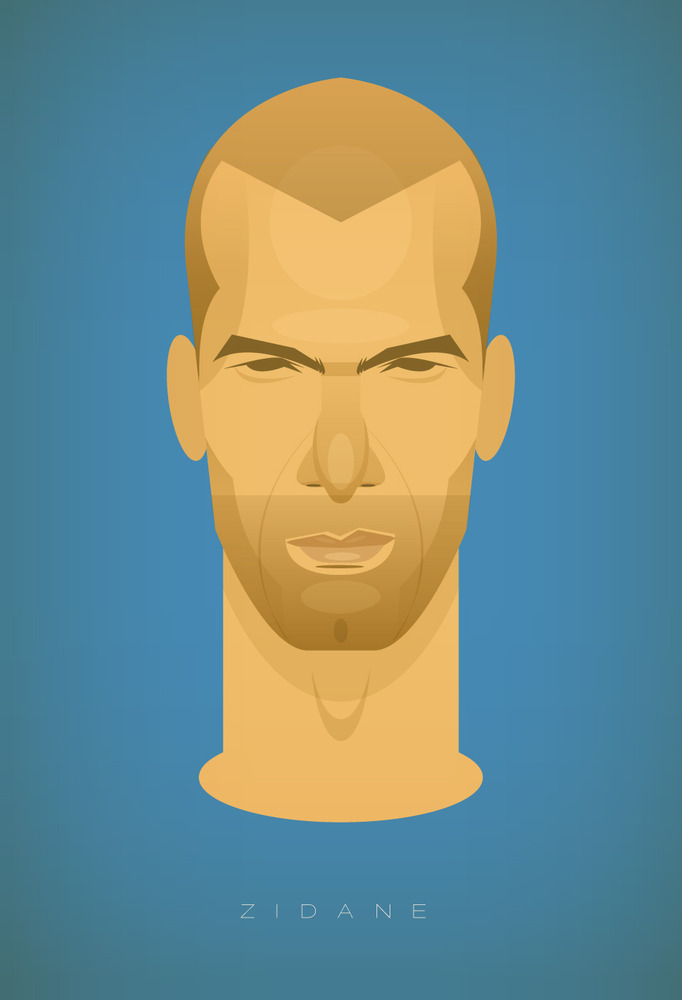 zidane Famous Footballers Illustrated by Stanley Chow