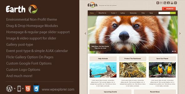 Earth - Eco/Environmental NonProfit WordPress Theme