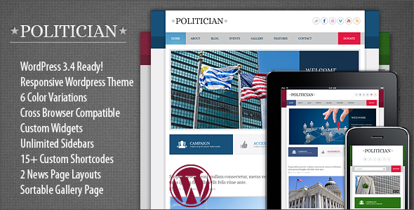 Politician Responsive WordPress Theme