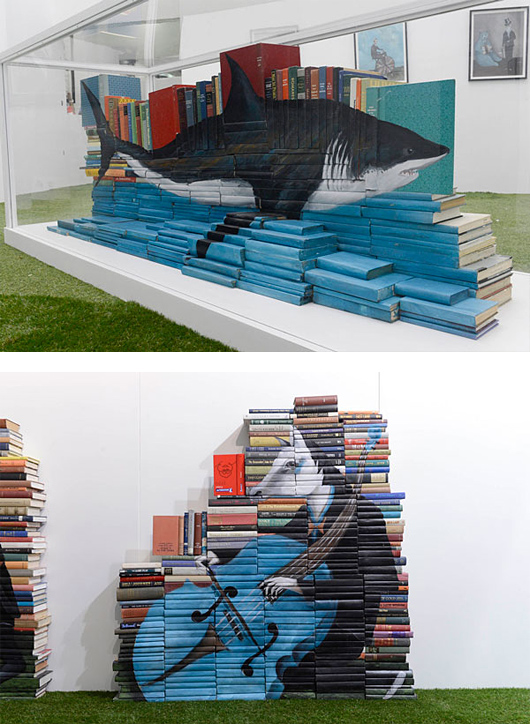 872c art Painted Book Sculptures by Mike Stilkey