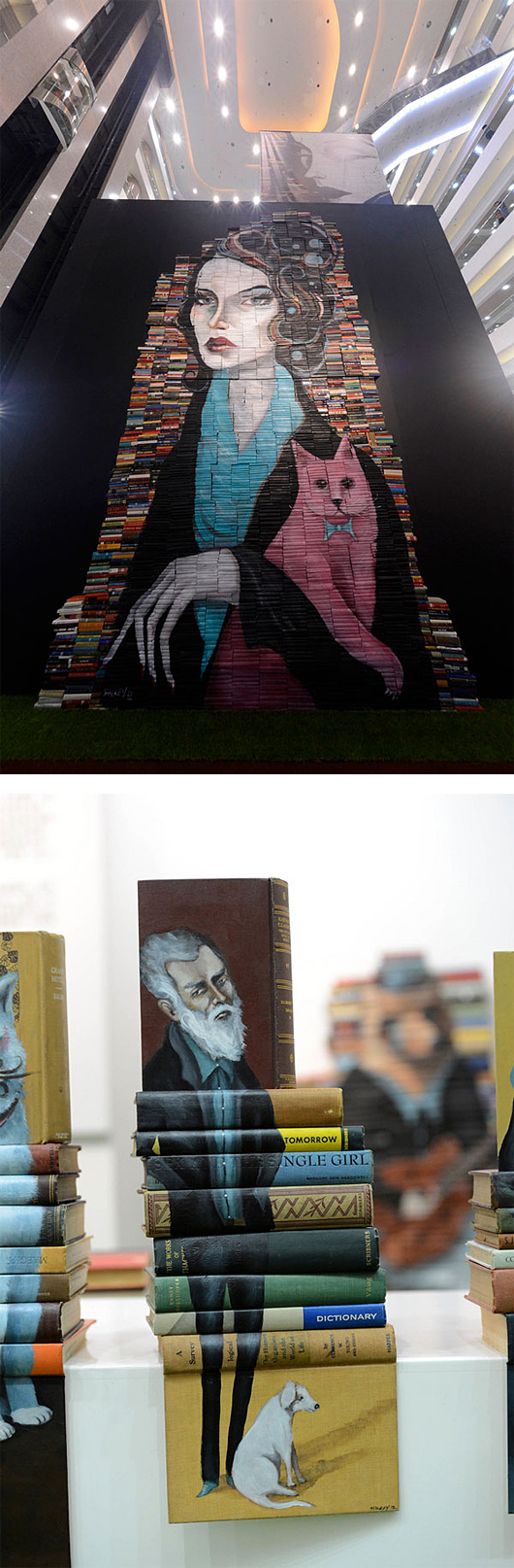 872d art Painted Book Sculptures by Mike Stilkey