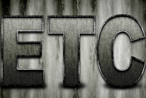 Grungy Rusted Carbon Fiber Text Effect