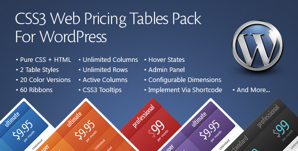 CSS3 Web Pricing Tables Grids For WordPress