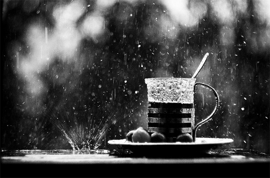black and white cup of tea in the rain