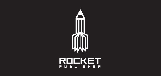 rocket publisher logo designs1 40 Awesome Rocket Based Logo Designs