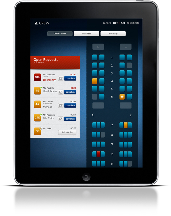 Delta Airlines In-Flight Service App Concept