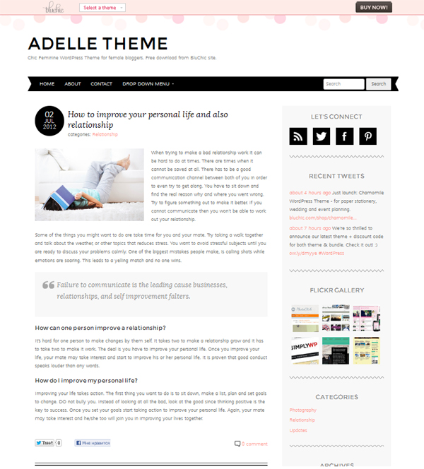 adelle Free WordPress Themes Released in Summer 2012