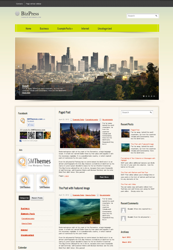 bizpress Free WordPress Themes Released in Summer 2012