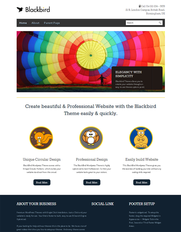 blackbird Free WordPress Themes Released in Summer 2012