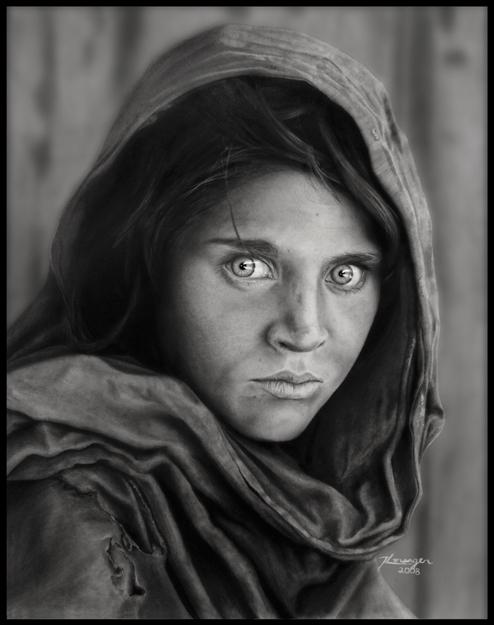Sharbat Gula Drawing